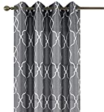 Cheap GoodGram 2 Pack Embroidered Lattice Semi Sheer Grommet Top Window Curtains – Assorted Colors (Charcoal)