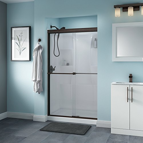 "Delta Shower Doors SD3276501 Trinsic 48"" x 70"" Semi-Frameless Traditional Sliding Shower Door in Bronze with Niebla Glass"