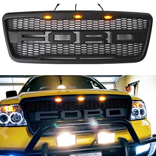 Grill for Ford F150 2004-2008 with F R Letters,Raptor Style Grille Fit 2004 2005 2006 2007 2008,F-150 Off Road Truck Bumper Hood Limited STX XL FX Crew Cap Pick Up - 2007 Ford Truck