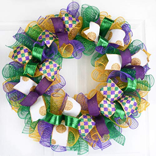 Mardi Gras Wreath | Fat Tuesday Mesh Front Door Outdoor Wreath | Purple Emerald Green Gold White -