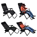 EZcheer Zero Gravity Chair Oversized, 2 Pack Supports up to 430lbs Patio Lounge Chair,XL Folding Portable Office Beach Recliner Chair With Cup Holder