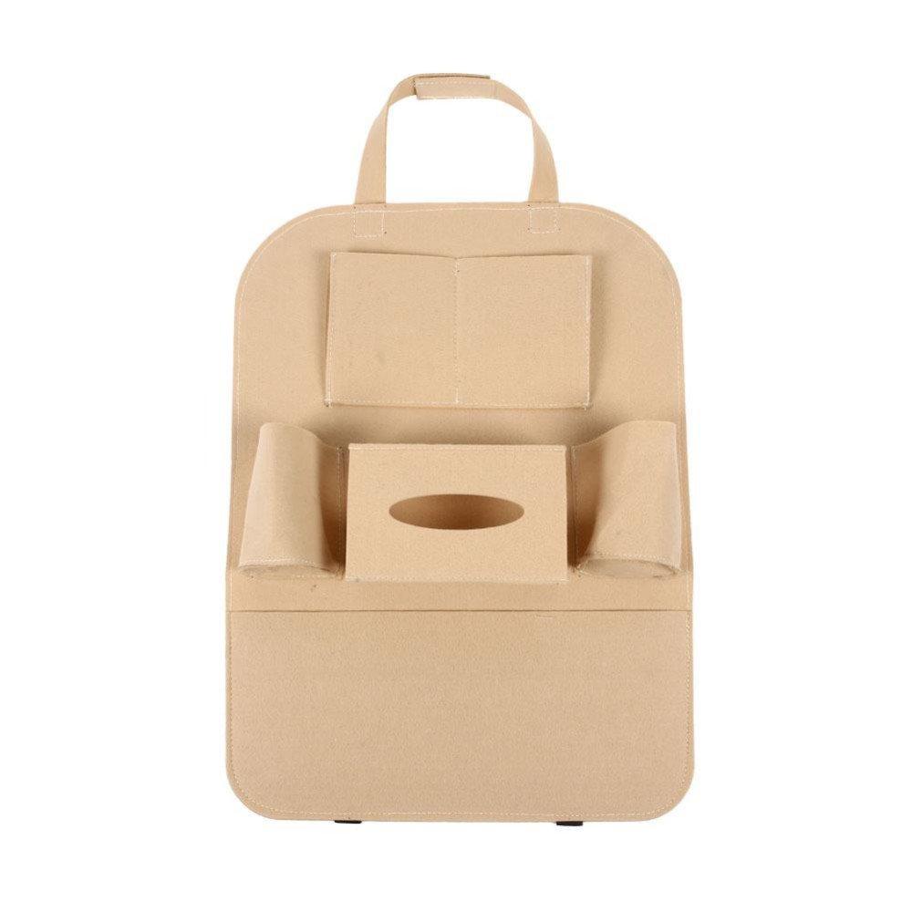 2pcs Multi Car Seat Storage Bag Practical Car Seat Back Organizer Storage Bags Car Hanging Pocket Car Interior Accessories (beige)