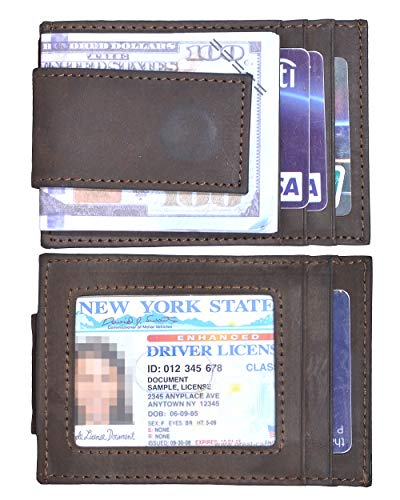 Mens Money Clip Wallet RFID Slim Wallet Genuine Leather Thin Front Pocket Wallet (A Crazy Horse Deep ()