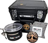 🌳TREE OF LIFE LOCKING STASH BOX COMBO🌳  WHAT YOU GET! 👀ALL ACCESSORIES INCLUDED! ALL NEW ACCESSORIES! Tree of Life 4 piece black titanium grinder, extra large stash jar, large pineapple rolling tray, smell proof bag, and two sets of keys for the atta...