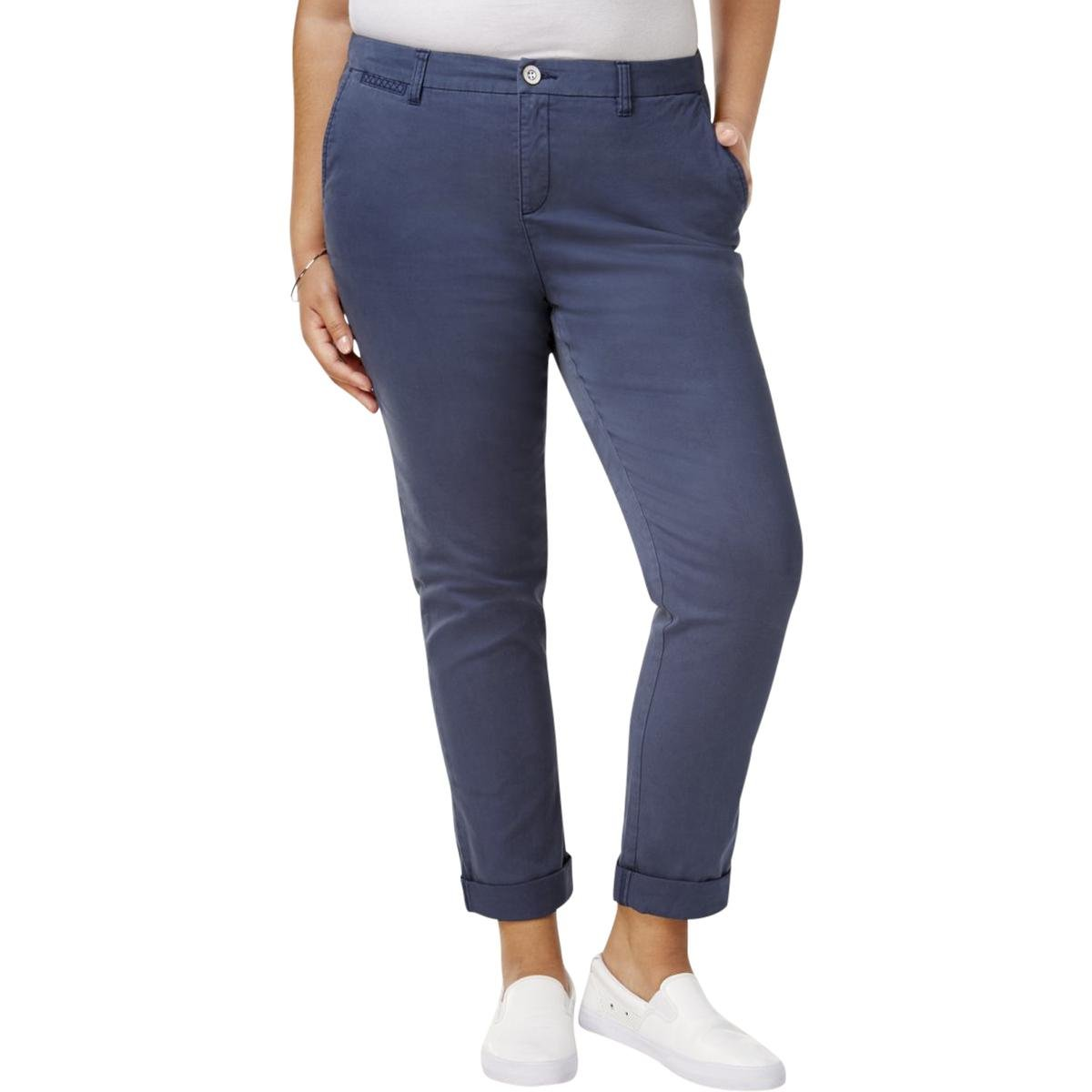 Style & Co.. Womens Plus Twill Embroidered Cropped Pants Blue 14W