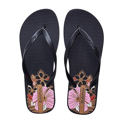 Summer EU Rose Taille Noir Wangcui Chaussures Flops De Flip Women 38 Antidérapante Couleur Plage Légère OFcwvqdxf