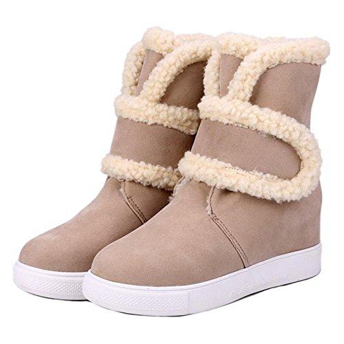 COOLCEPT Damen Mode Klettverschluss Knochel Plateau Winter Schneestiefel Beige