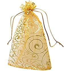 "Idealgo 100pcs Rganza Pouch Bag Drawstring 3.9x4.7"" 10x12cm Gift Candy Bag Jewelry Party Wedding Favor Drawstring Organza Pouch Strong Wedding Favor Gift Candy Bag (Pack of 100pcs) (Style 2(gold))"