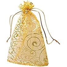 """Idealgo 100pcs Rganza Pouch Bag Drawstring 3.9x4.7"""" 10x12cm Gift Candy Bag Jewelry Party Wedding Favor Drawstring Organza Pouch Strong Wedding Favor Gift Candy Bag (Pack of 100pcs) (Style 2(gold))"""