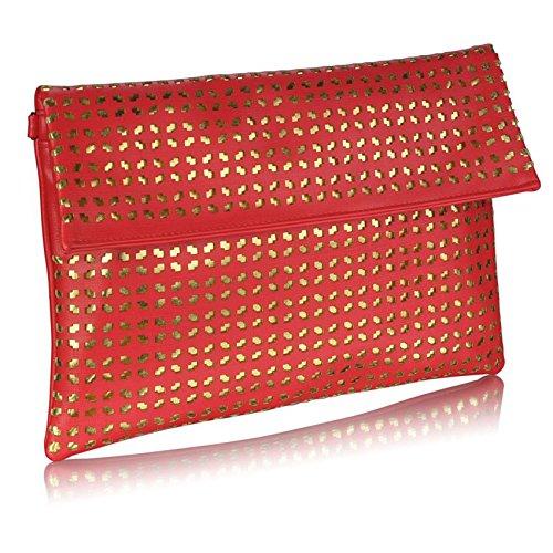 TrendStar Damen Large Clutch Taschen Umschlag Damen Abend-Handtasche Geldbörse Glitter Neue Partei-Tasche Rot