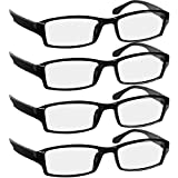 Reading Glasses 1.5 4 Pack Black Readers For Men & Women - Spring Arms & Dura-Tight Screws Always Have a Stylish Look and Crystal Clear Vision When You Need It!