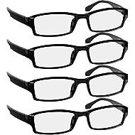amazon reading glasses health household Ray-Ban Prescription Eyeglasses reading glasses 1 5 4 pack black readers for men women spring arms dura