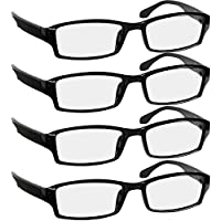 Reading Glasses 1.75 4 Pack Black Readers For Men & Women - Spring Arms & Dura-Tight Screws Always Have a Stylish Look and Crystal Clear Vision When You Need It!