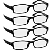 Reading Glasses 2.0 4 Pack Black Readers For Men & Women - Spring Arms & Dura-Tight Screws Always Have a Stylish Look and Crystal Clear Vision When You Need It!