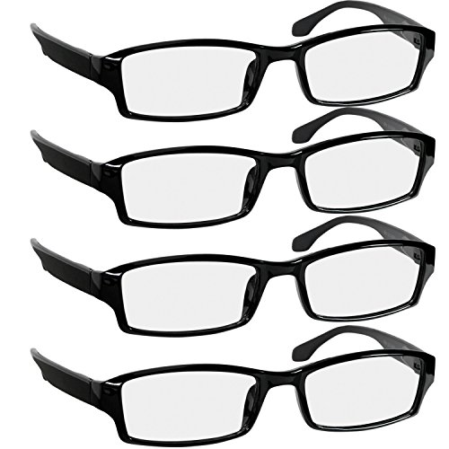 (Reading Glasees 2.0 | 4 Pack Black | Readers for Men & Women Spring Arms & Dura-Tight Screws | Always Have a Stylish Look and Crystal Clear Vision When You Need It)
