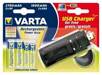Varta - Juego de cargador con puerto USB y pilas (2x AA, 2x ...