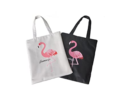 Febbya Bolso Playa,2 Pack Bolsa de Mano de Mujer Lona Bolsos Bandolera Clutch para Comprar Playa Viaje 1 Negro+1 Blanco Flamingo 38x33x24CM