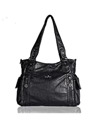 Angelkiss 2 Top Zippers Multi Pockets Purse for Women/Washed Leather Purses/Shoulder Bags/Handbags 1193