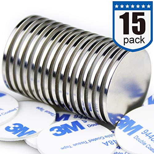 DIYMAG 15pcs 1.26D x 0.08H Powerful Neodymium Disc Magnets, Strong, Permanent, Rare Earth Magnets, Fridge, DIY, Building, Scientific, Craft, and Office Magnets