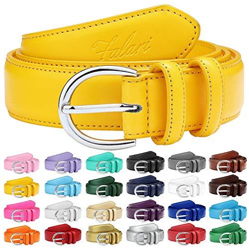 Falari Women Genuine Leather Belt Fashion Dress Belt With Single Prong Buckle 6028-Yellow-L