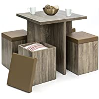 Best Choice Products 5-Piece Wood Dining Table Set w/ Storage Ottoman Stools (Brown)