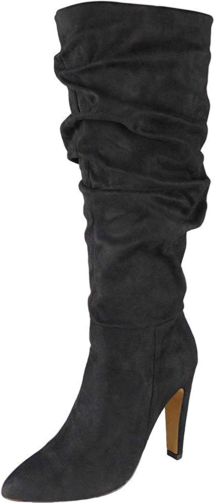 Womens Rouched Mid Calf Boots Zip High Heel Pointed Toe Party Suede Shoes Size