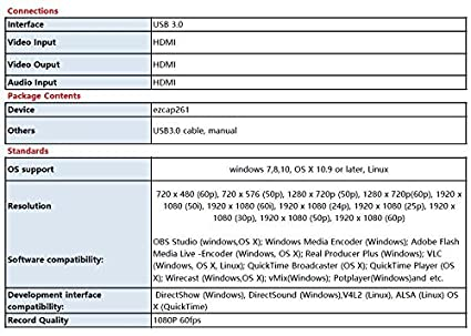 Amazon com: EZCAP USB3 0 1080P 60FPS HDMI Video Dongle USB 3 0 Game