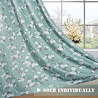 H.VERSAILTEX Ultra Soft Microfiber Living Room Curtain Noise Reducing Thermal Insulated Nickel Grommet Top Blackout Window Panel Drapes (Extra Long 1 Panel, 52 x 96 Inch, Traditional Aqua Floral) - HYPOALLERGENIC MATERIAL: Crafted from microfiber fabric, soft, silky and smooth, skin-friendly, formaldehyde vinyl free, add the peaceful environment, you will definitely enjoy sweet dreams NATURAL BLACKOUT: This magic lovely individually sold curtain panels is thick enough and constructed with interwoven thermal technology, no chemical coating, while still can block out 90% sun light and prevent 100% UV ray SMART FUNCTION: These charming decorative energy-saving window treatments are functional and fashionable, have high features on thermal insulated, room darkening, energy efficient, noise reducing and privacy adding - living-room-soft-furnishings, living-room, draperies-curtains-shades - 51BQU5yiBDL. SS400  -