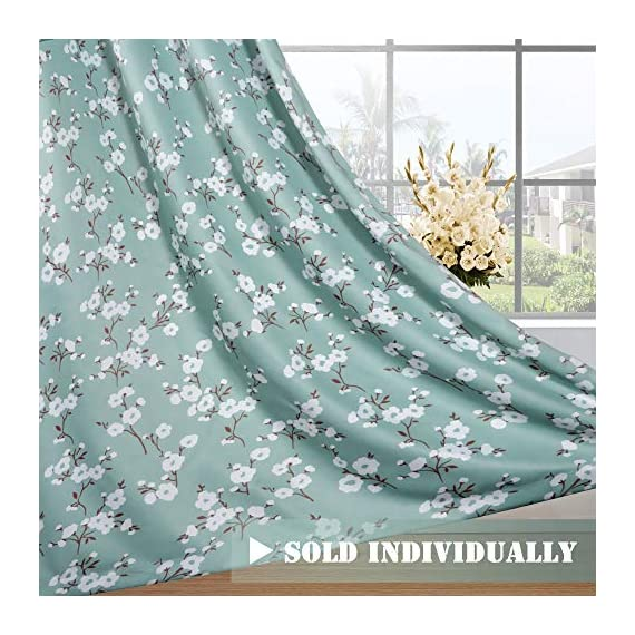 H.VERSAILTEX Ultra Soft Microfiber Living Room Curtain Noise Reducing Thermal Insulated Nickel Grommet Top Blackout Window Panel Drapes (Extra Long 1 Panel, 52 x 96 Inch, Traditional Aqua Floral) - HYPOALLERGENIC MATERIAL: Crafted from microfiber fabric, soft, silky and smooth, skin-friendly, formaldehyde vinyl free, add the peaceful environment, you will definitely enjoy sweet dreams NATURAL BLACKOUT: This magic lovely individually sold curtain panels is thick enough and constructed with interwoven thermal technology, no chemical coating, while still can block out 90% sun light and prevent 100% UV ray SMART FUNCTION: These charming decorative energy-saving window treatments are functional and fashionable, have high features on thermal insulated, room darkening, energy efficient, noise reducing and privacy adding - living-room-soft-furnishings, living-room, draperies-curtains-shades - 51BQU5yiBDL. SS570  -
