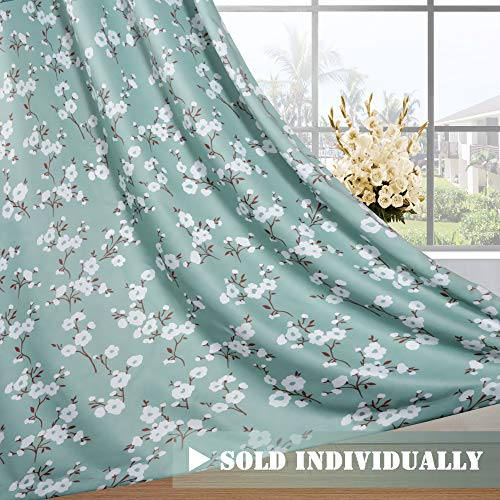 "H.VERSAILTEX Country Aqua Floral Print Blackout Curtain for Bedroom - Thermal Insulated Ultimate Soft Textured Grommet Window Treatment Panel for Living Room, 52"" W x 63"" L - 1 Panel"