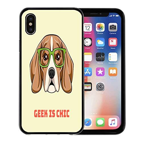 Emvency Phone Case for Apple iPhone Xs Case/iPhone X Case,Black Animal Cute Portrait of Nerdy Beagle Dog Geek Soft Rubber Border Decorative, Black