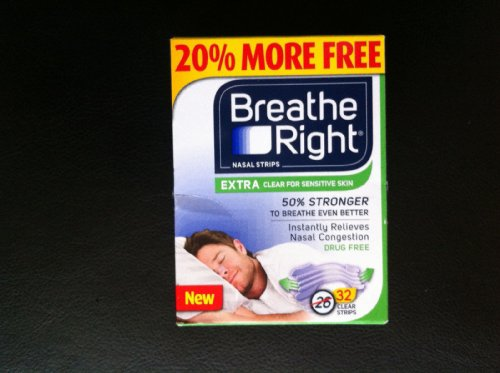 (160 Strips) Breathe Right Nasal Strips EXTRA CLEAR For SENSITIVE SKIN - 32 Count (5 Pack) by Seven 'til Midnight