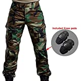 Worldshopping4U Men Shooting BDU Combat Pants Trousers with Knee Pads Woodland Camo for Military Army Airsoft Paintball (WL, XL)