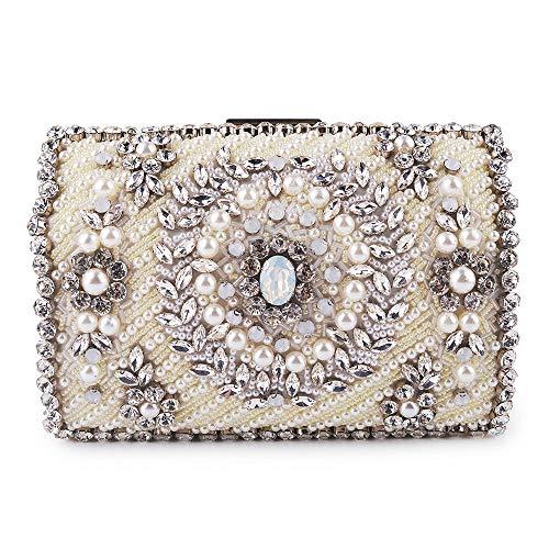 ETH Women's Rhinestone Beaded Chain Shoulder Crossbody Bag Imitation Pearl Diamond Party Wedding Celebration Bride Clutches Bags Dress Holiday Evening Bags Durable (Color : Beige) (Mk Bags Imitation)