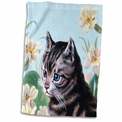 3dRose 3D Rose Cute Grey Kitten-Vintage Art Tabby Cat with Sweet Blue Eyes in Garden-White Flowers-Gray Kitty Towel, 15