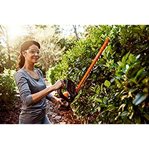 Worx WG261 20V (2.0Ah) Power Share 20-inch Cordless Hedge Trimmer, Battery and Charger Included, Black and Orange