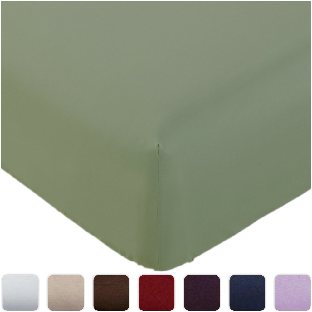 Mellanni Fitted Sheet TwinXL Olive-Green Brushed Microfiber 1800 Bedding - Wrinkle, Fade, Stain Resistant - Hypoallergenic - (Twin XL, Olive Green)