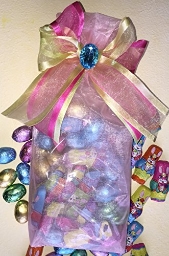 Italian Chocolate Easter Eggs - Easter Chocolate Eggs Gift Bag - One Decorated Bag Filled with Premium Madelaine Milk Chocolate Easter Eggs