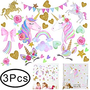 Hicdaw 110PCS Decoration for Unicorn Wall Stickers 3 Pack 2 Styles for Unicorn Wall Decal with Heart Flower Birthday Gift for Kids Bedroom Nursery Home Party Favors