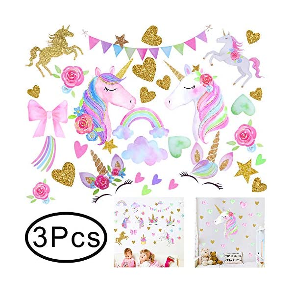 Hicdaw 110PCS Decoration for Unicorn Wall Stickers 3 Pack 2 Styles for Unicorn Wall Decal with Heart Flower Birthday… 3