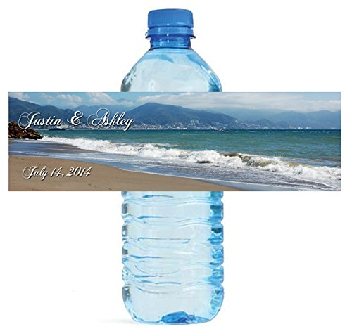 100 Beach Theme Wedding Water Bottle Labels Engagement Bridal - Bottle Theme