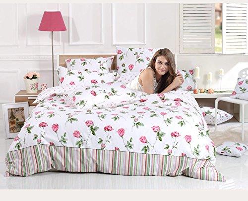 Sisbay Designer Bedding French Garden Rose Sheet,Girls Plain Floral Duvet Cover,Romantic Spring Wedding Bed Set,Queen King