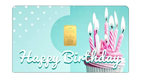 Amazon.com: Tarjeta de regalo de cumpleaños de oro de 24 K ...