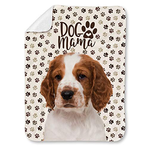 """NIWAHO Welsh Springer Spaniel Dog and Paws Themed Printed Super Soft Sherpa Blanket - Double-Deck Thickening Lambs Wool, Dog MOM Gift (31""""x47"""")"""