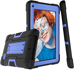 """Koolbei RCA for RCA 7"""" Case,Heavy-Duty Drop-Proof and Shock-Resistant Rugged Hybrid Case(with Built-in Stand),for RCA 7"""" Voyager RCT6873W42 2015 Model Tablet (Black/Blue)"""