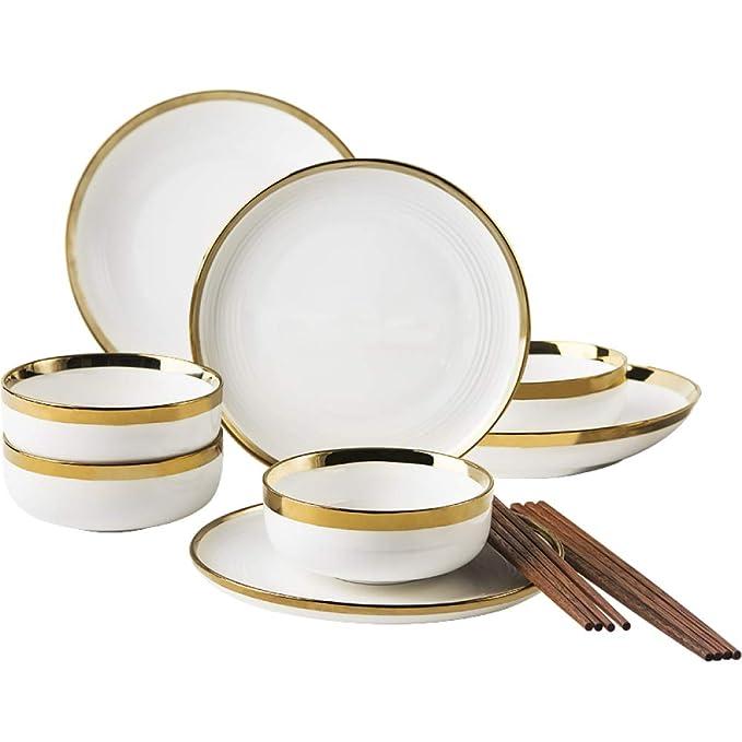 Amazon.com: Juego de vajilla de porcelana de 12 piezas ...