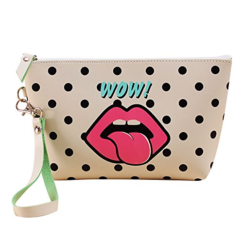 Portable Waterproof Handle Cosmetic Pouch Toiletry Bag / PU Leather Printed Top Zipped Organizer Makeup Case for Dating, Party, Anniversary and Travel(Tongue) (Leather Zipped Pouch)