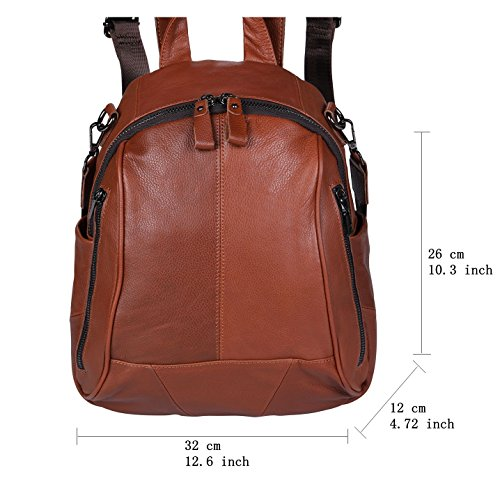 Bag Leather for ANNA Notebook Purse FB5 Women QUEEN Backpack Rucksack Fashion leather Mini Brown phone ipad Casual Shoulder 7qFBzqUnE