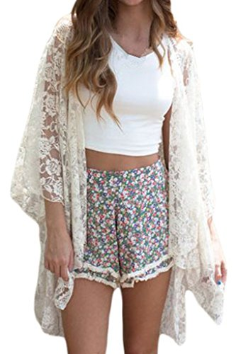 Chase Secret Womens See Through Lace Kimono Cardigan Shirt Blouse Top Lace Kimono