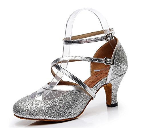 Strap Minishion 6 Silver Ankle Toe Dancing Shoes Evening Latin Round Ballroom Heel Pumps Glitter Women's Cm wwIqgf